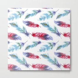 Trendy boho style pattern with feathers Metal Print