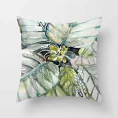 Poinsettia Watercolors Throw Pillow