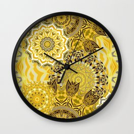 Yellow Boho Mandela Pattern Wall Clock
