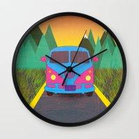 volkswagon Wall Clocks featuring Das Auto by Daizy Jain