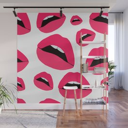 red lips pattern Wall Mural