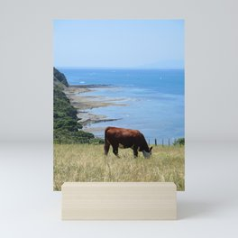 Cow by the Ocean Mini Art Print