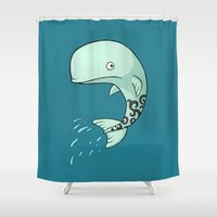 the whale Shower Curtains featuring Whale by Freeminds