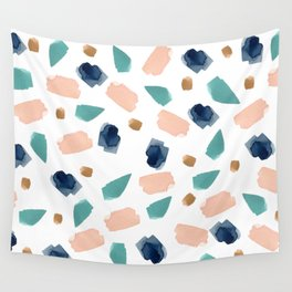 turquoise, navy, pink & gold Wall Tapestry