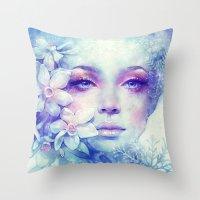 sale Throw Pillows featuring December by Anna Dittmann
