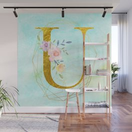 Gold Foil Alphabet Letter U Initials Monogram Frame with a Gold Geometric Wreath Wall Mural