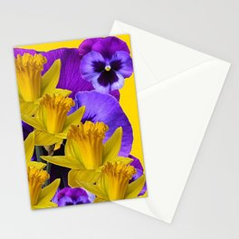 YELLOW DAFFODILS AGAINST PURPLE PANSIES Stationery Cards
