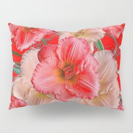 GREY-RED  PINK & CREAM DAYLILIES FLORAL Pillow Sham