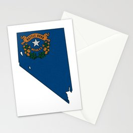 Nevada Map with State Flag Stationery Cards