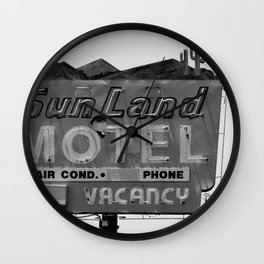 Vintage Neon Sign In Tucson - Sun Land Motel Wall Clock