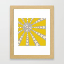 Abstract sunburst in mustard yellow, off-white, grey Framed Art Print