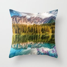 Carezza Lake Mountain Reflection and Wildflowers Landscape Painting by Jeanpaul Ferro Throw Pillow