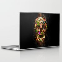 animal skull Laptop & iPad Skins featuring Floral Flower animal skull kingdom by KomarWork