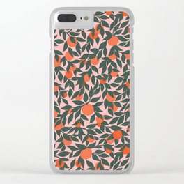 Oranges and Leaves Pattern - Pink Clear iPhone Case