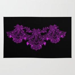 Vintage Lace Hankies Black and Dazzling Violet Rug