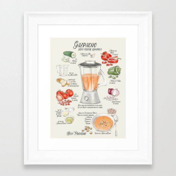 Gazpacho illustrated recipe in Spanish Framed Art Print