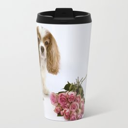 Cavalier King Charles Spaniel With Pink Roses Travel Mug