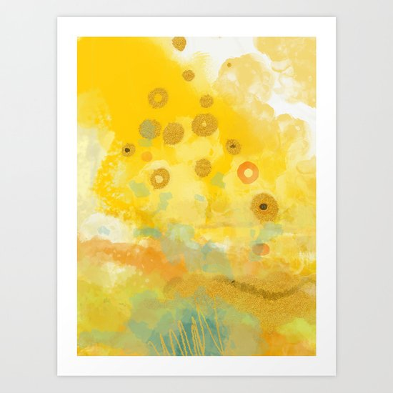 Abstract autumn with gold and warm light by lalunetricotee