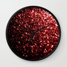 Beautiful Glamour Red Glitter sparkles Wall Clock