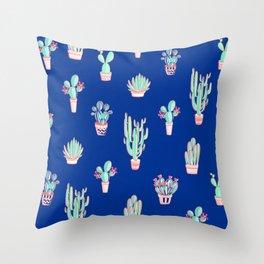 Little cactus pattern - Princess Blue Throw Pillow