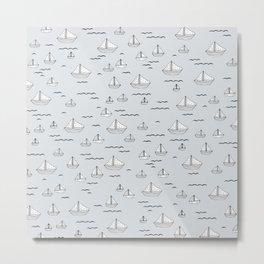 Little sailor Scandinavian style sailing boats nursery boys Metal Print