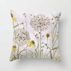 Alliums and Heleniums Throw Pillow