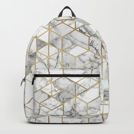 White marble geomeric pattern in gold frame Backpack