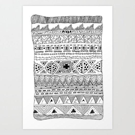 Pizza Pattern (black) Art Print