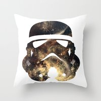 stormtrooper Throw Pillows featuring Stormtrooper by Benedikte