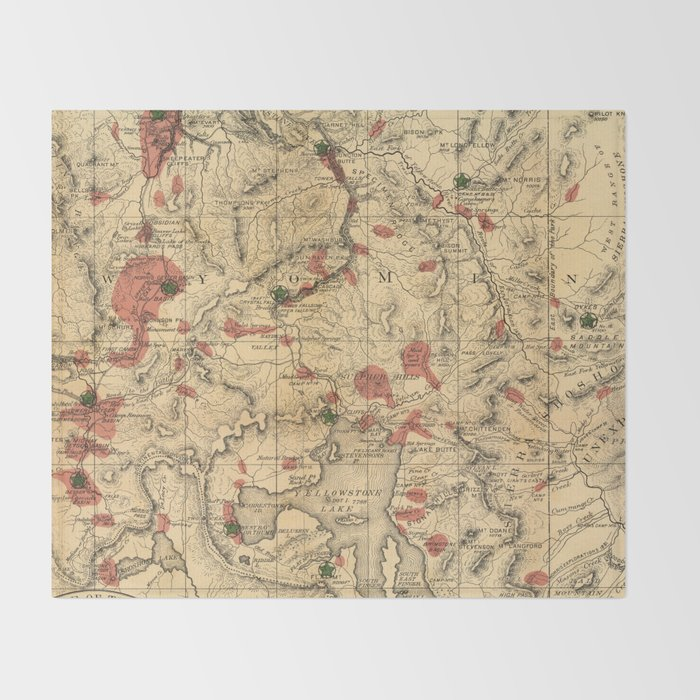 Vintage Map Of Yellowstone National Park 1881 Throw Blanket