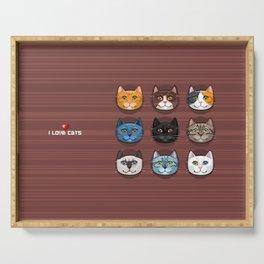 I love cats Serving Tray
