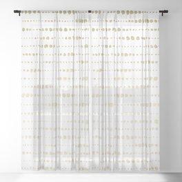 Modern Gold Polka Dot Stripes Sheer Curtain