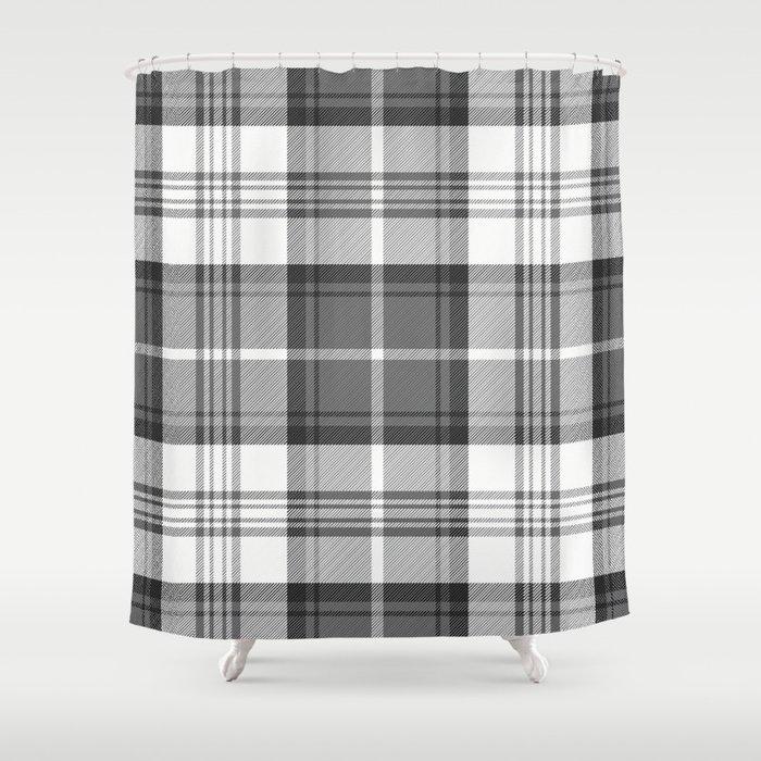 Black White Tartan Shower Curtain By Pixel404