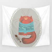 cat coquillette Wall Tapestries featuring cat by yohan sacre