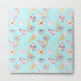 Pink & Teal Summer Fun Flower Ice Cream Cone - Pattern Metal Print
