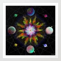 Sacred Planetary Geometry (Dark) Art Print