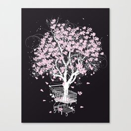 Blooming tree in shopping cart Canvas Print