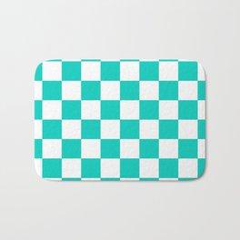 Aqua Blue Checkers Pattern Bath Mat