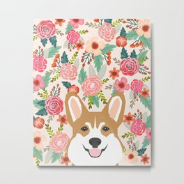 Welsh Corgi cute flowers spring summer garden dog portrait cute corgi puppy funny god illustrations Metal Print