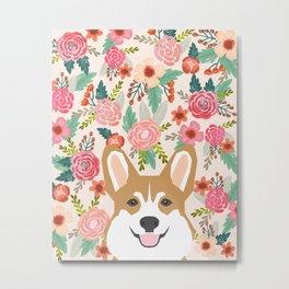 Welsh Corgi cute flowers spring summer garden dog portrait cute corgi puppy funny god illustrations Metal Print