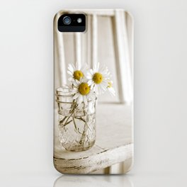 Simple White Daisy Flowers iPhone Case