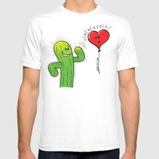 Spiky Cactus Flirting with a Heart Balloon Mens Fitted Tee White SMALL