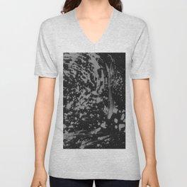 Abstract black gray watercolor splatters brushstrokes pattern Unisex V-Neck