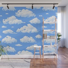 White fluffy clouds pattern Wall Mural