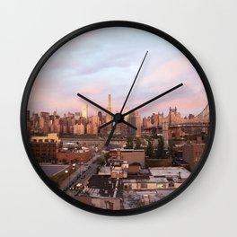 Manhattan City Skyline from Queens at Sunrise Wall Clock