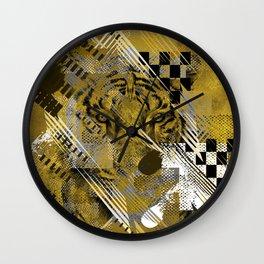 Tiger in gold Abstract Digital art Wall Clock