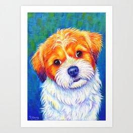 Colorful Curious Shih Tzu Dog Art Print