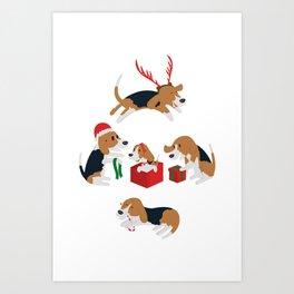 Beagle christmas Art Print