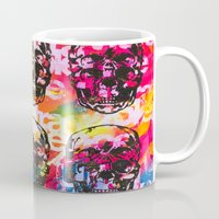 ultraviolence Mugs featuring Ultraviolence 4i skull - mixed media on canvas by kakin