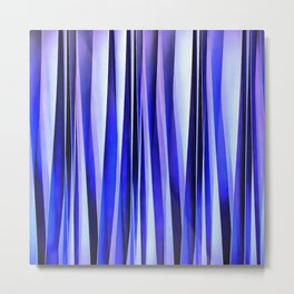 Peace and Harmony Blue Striped Abstract Pattern Metal Print